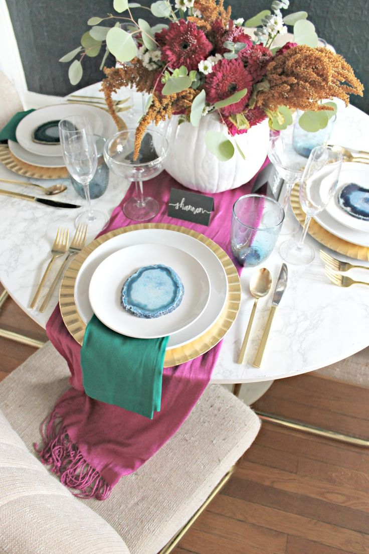 DIY colorful Thanksgiving Tablescape by Burlap and Lace