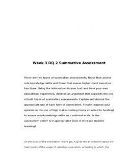 EDU673 / EDU 673 / Week 3 DQ 2 Summative Assessment