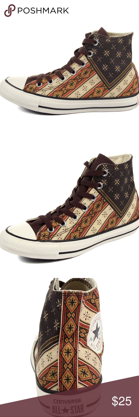 Converse Chuck Taylor Americana Bandana High Tops This is an awesome pair of Converse High Tops in Men's size 7/ Women's 9 in a super cool bandana print in shades of black, rust, chocolate brown, tan and oatmeal. These chucks have only been worn once and are in fantastic condition! One slight scuff on the left shoe at the toe (see pic). There is a discrepancy is the shade of the rubber. One seems whiter than the other for some reason and they came new this way. The difference is virtually…
