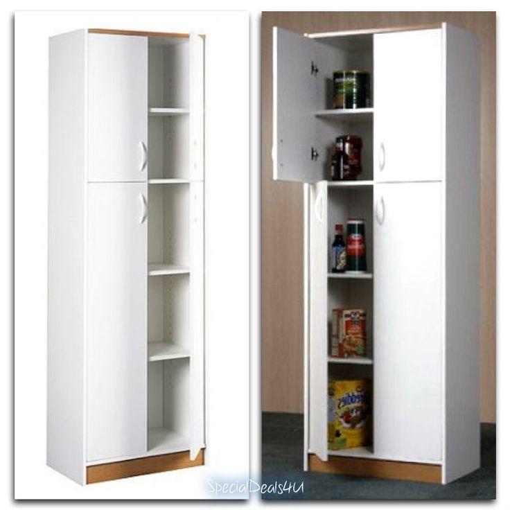 Kitchen Pantry Storage Cabinet 4 Door Wood Organizer Furniture Cupboard White #OrionSD4U #ModernContemporary
