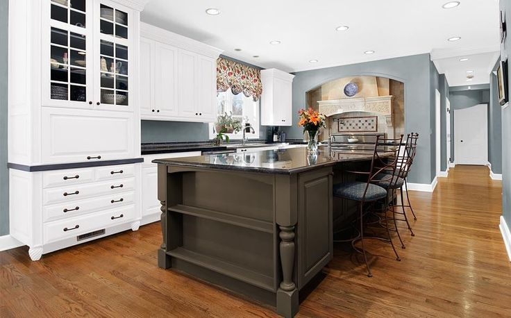 Glidden smoky charcoal the home depot love this grey color with white trim dark wood island - Home depot paint for kitchen cabinets ...