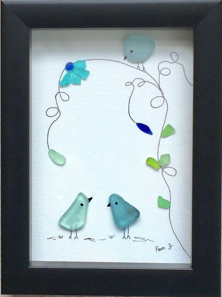 Sea Glass Bird Framed Artwork Flowers Picture Sea Glass Crafts Glass Art Pictures Beach Glass Crafts