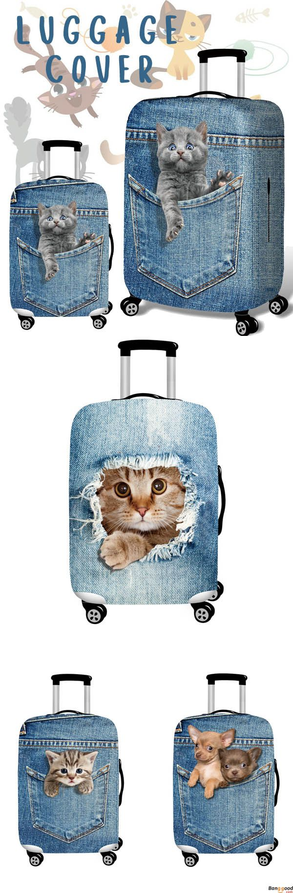 US$15.99+ Free Shipping. 3D Cute Cat Dog Elastic Luggage Cover. Shop at banggood.