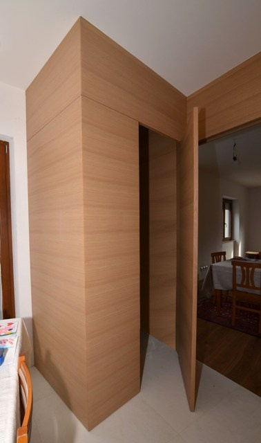 Kitchen inside: pantry with clad flamed durmast.