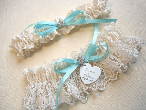 Garters, Personalized Wedding Garter Set in Ivory Venise Lace with Personalized Engraving, a Custom Color Bow and Rhinestones