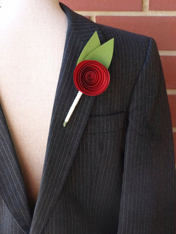 Paper rose Buttonhole / Boutonniere Burgundy for a by PulpPetals, $23.00