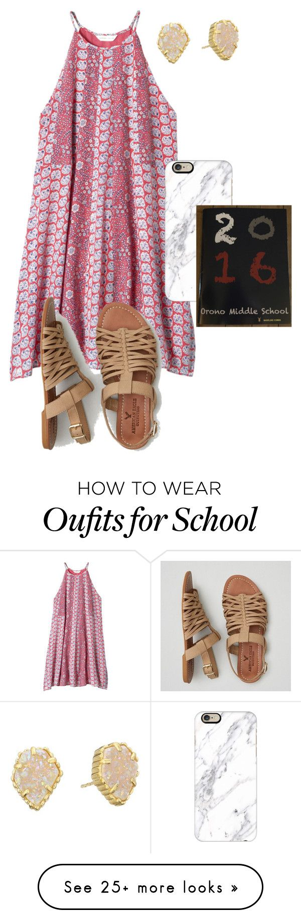 """""""Because it's my last day of school tomorrow"""" by madelines-fashions on Polyvore featuring Rebecca Taylor, American Eagle Outfitters, Casetify and Kendra Scott"""