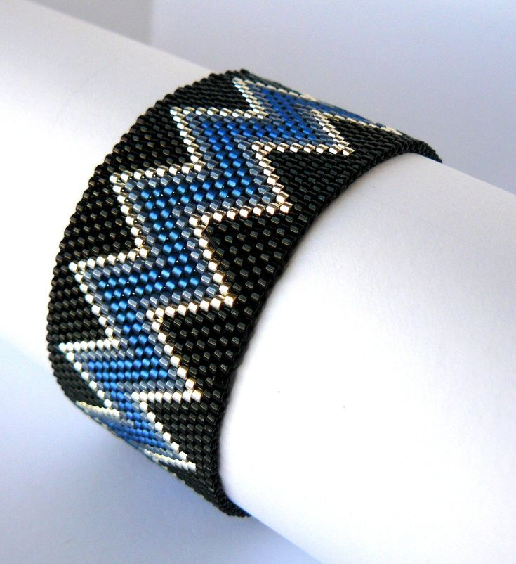 Chevron Beaded Bracelet Blue and Black Southwestern Jewelry Native American Inspired Cuff Bracelet Peyote Bead Weaving