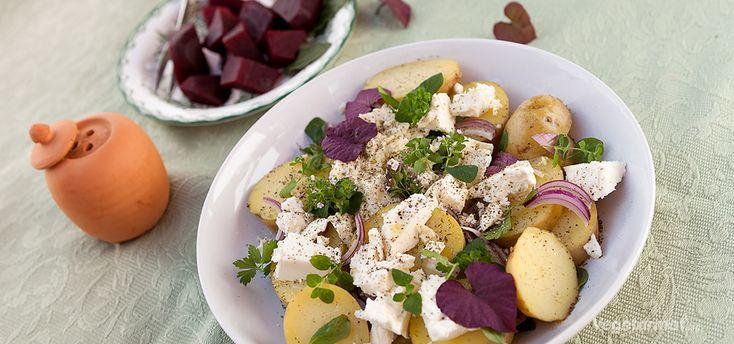 Potetsalat med friske urter og feta
