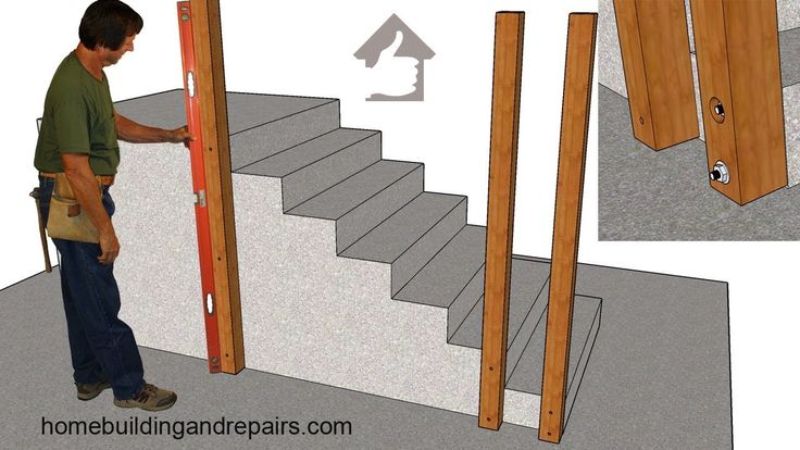 How To Attach Wood Guardrail Post To Existing Concrete Stairs – Do-It-Yo…
