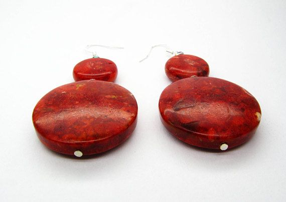 RED CORAL EARRINGS Drops coral and silver dangle red earrings