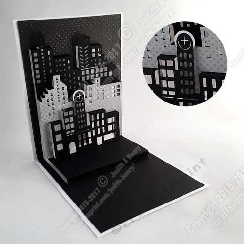 This is a template for a generic City Sky Line popup card with three building levels. It is pretty in a monochromatic theme but the kit also has the cutting objects for personal color choices. These cutting objects include background and foreground, three build level pieces for the front color and window back light color. The card has an extra popup level for you to customize with a sentiment or additional popup characters. Example: Use a fireworks background and then add a flagpole with a…