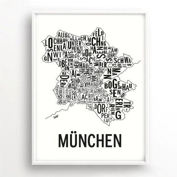 München Muenchen München Citymap Poster Deutschland Karte