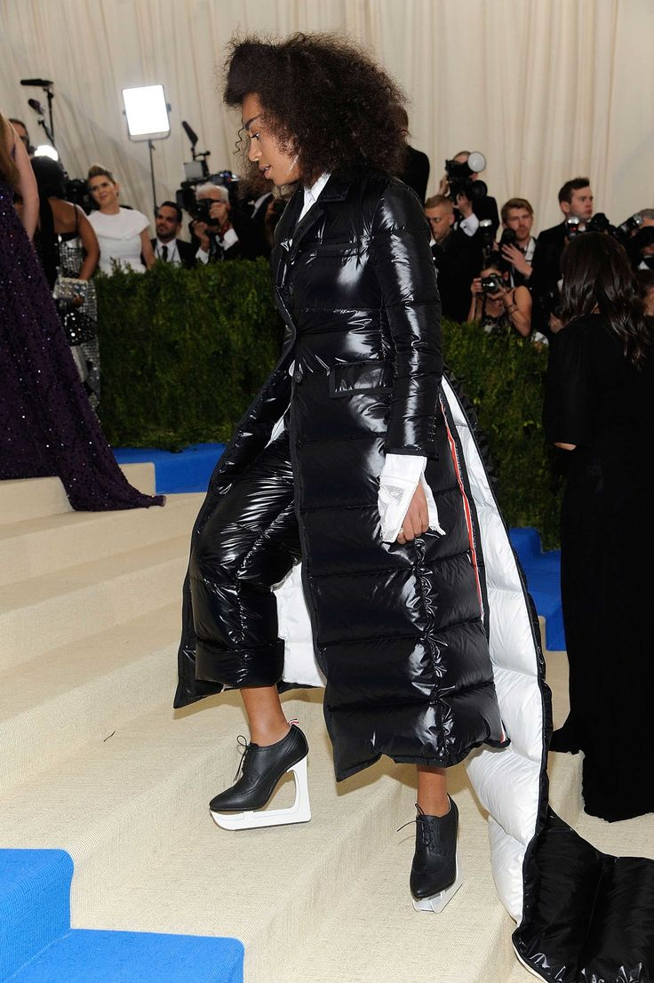 Only Solange Knowles could pull off Thom Browne's extra-long puffer coat and ice skate shoes.