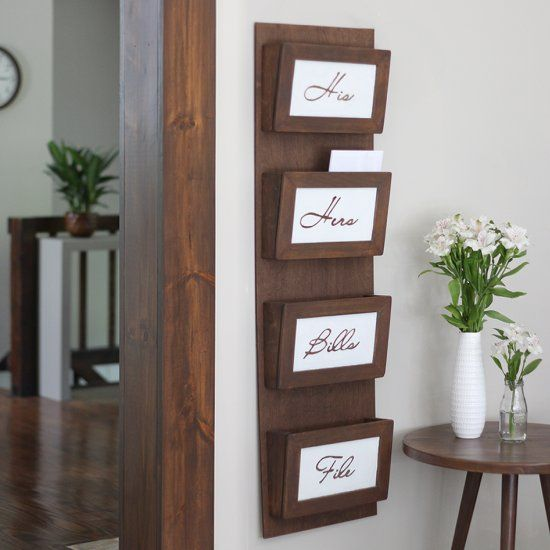 Clear your clutter with this simple DIY mail sorting station. Free plans to make your own at Build Basic