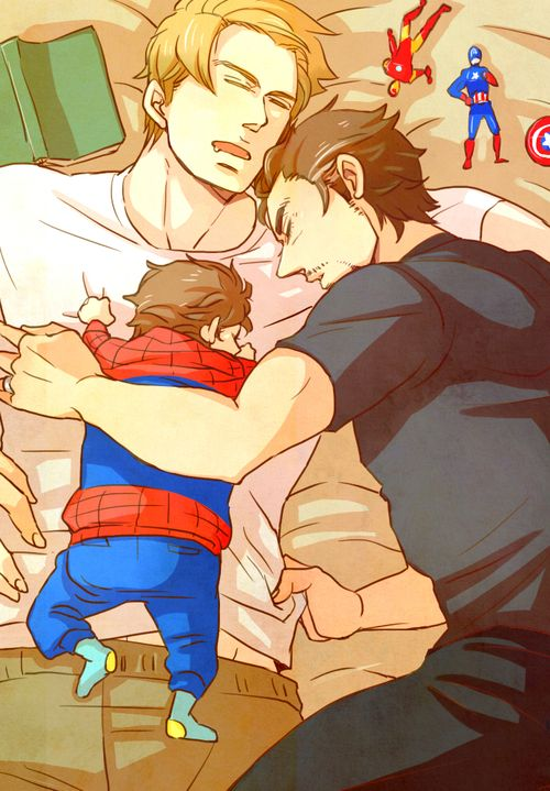 captain america and iron man and their son