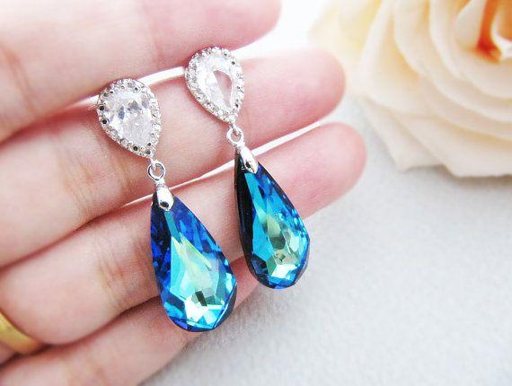 :): Earrings Perfect, Earrings Matte, Teardrop Earrings, Bermuda Blue, Plates Cubic, Bridal Earrings, Rodium Plates, Blue Earrings, Matte Rodium