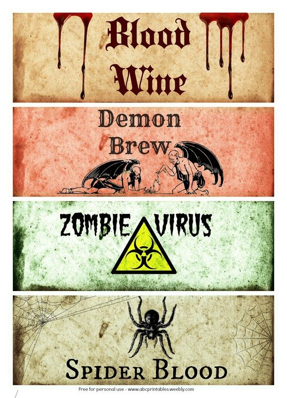 Free Printable Halloween Bottle Labels - Itsy Bitsy Fun