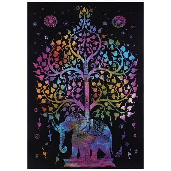 Ethnic Tree Of Life Purple Colour Wonderful Design Picture Queen Tapestry Indian