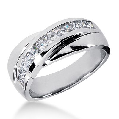 Unique Wide Band Diamond Rings | Platinum Men's Diamond Wedding Band 1ct