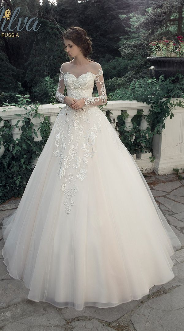 milva illusion long sleeves princess wedding dress for 2017