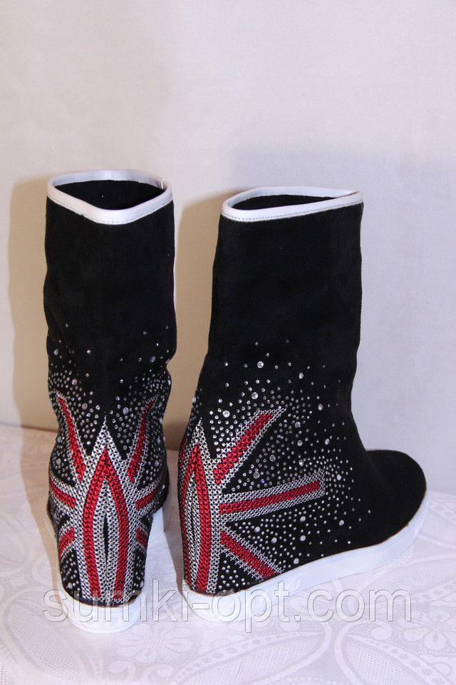 Женская обувь замшевая танкетка осеняя черная недорого