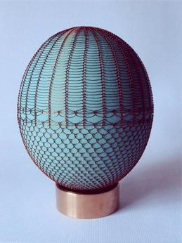 Ostrich Egg with woven wire