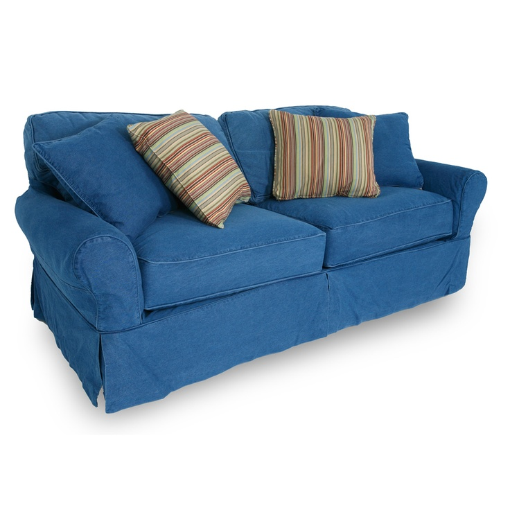 Washed denim sofa with slipcover decorating ideas pinterest Denim couch and loveseat