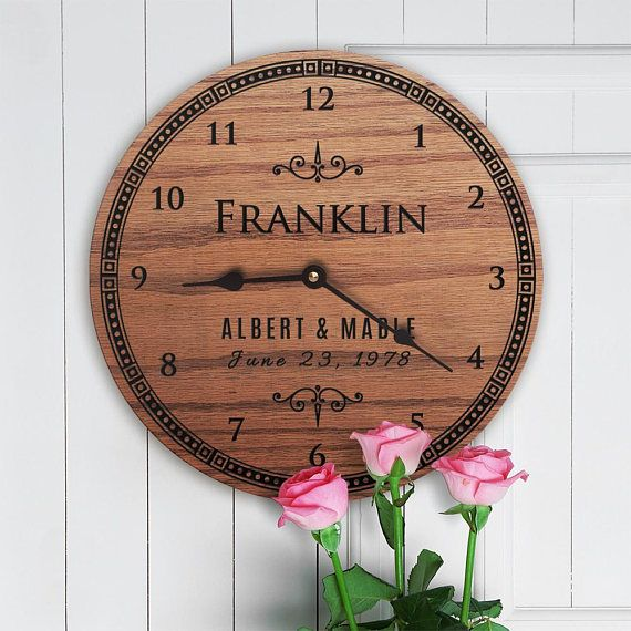 """23 Year Anniversary Gift - 23rd Anniversary Gift - Twenty Third Anniversary Gift - Twenty Third Year Anniversary Gift - Loving Legacy • 11 diameter • 3/4"""" thick solid oak • Low-level sheen • Black spade shape clock hands • Quartz silent clock movement is flush mounted on back • Includes"""