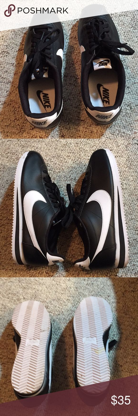 Nike Cortez Classic! Black and White Classic Nike Black and White Cortez Sneakers! Super cute with leggings and jeans! Both Retro and current! A timeless classic! Size 9 Nike Shoes Sneakers