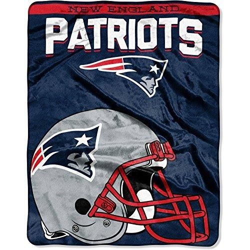 NFL Patriots Throw Blanket 55 X 70 Football Themed Bedding Sports Patterned Team Logo Fan Merchandise Athletic Team Spirit Fan Nautical Blue White Red New Century Silver Silk Touch