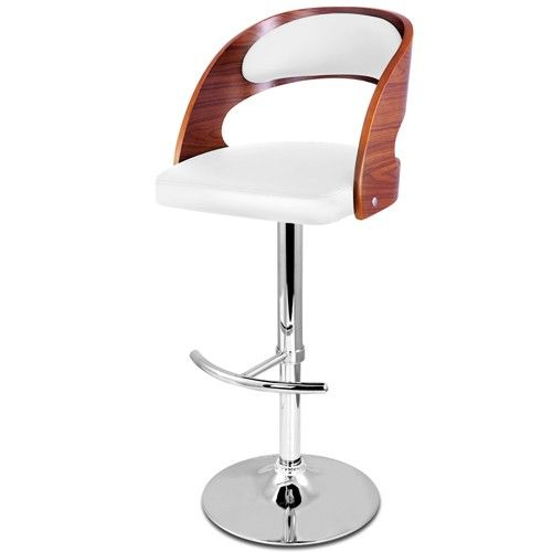 Bella Wooden Bar Stools White Cushion Gas Lift for Kitchen Dining Room