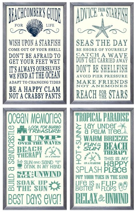 Coastal Wall Decor with Sets: http://www.completely-coastal.com/2015/10/decorative-coastal-wall-art-sets.html Like this Ocean Beach Advice Signs.