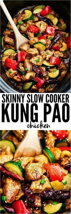 A delicious Skinny Slow Cooker Kung Pao Chicken coated in a sweet and spicy sauce with tender vegetables and crunchy cashews. Skip the takeout, this is so much healthier and better!