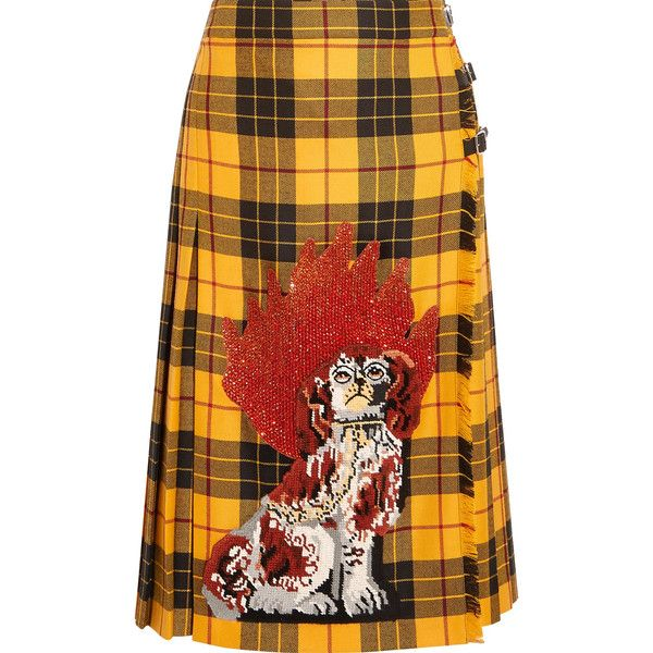 Gucci Appliquéd plaid wool midi skirt ($2,570) ❤ liked on Polyvore featuring skirts, yellow, tartan skirt, plaid skirt, mid calf skirts, woolen skirt and tartan plaid skirt