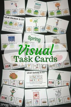 "These 56 task cards work on recognizing what things represents various seasons and holidays.  Visual task cards are perfect for work boxes in special education classes! Each task card follows the same format, ""What season is it?"" or ""What holiday is it?"""