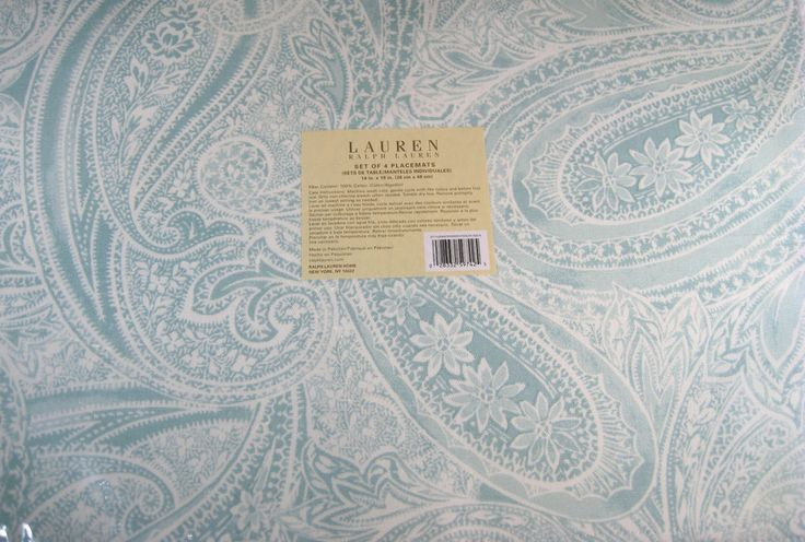 "Set of 4 Ralph Lauren Veranda  Paisley Aqua Placemats 14"" x 19"" 100% Cotton #RalphLauren"