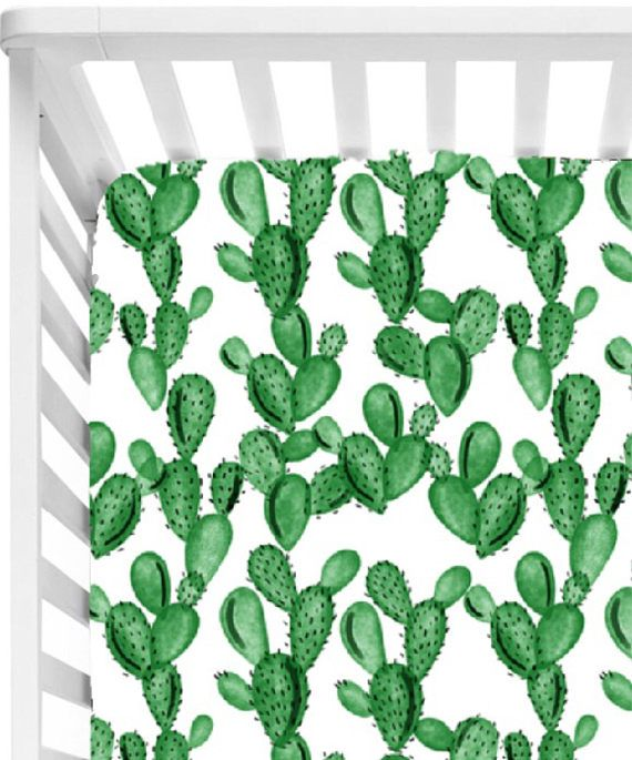 Cactus Baby Bedding// Crib Sheet// Gender Neutral Crib Bedding