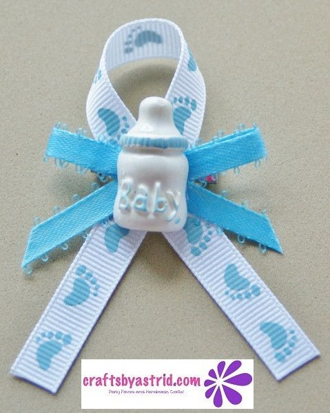 "#04-Guest Pins. Set of 12 Piece ""Bottle"" Boy Baby Shower Guest Pin On Favors"