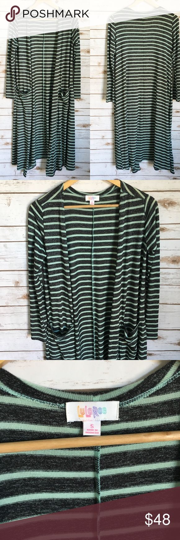 LuLaRoe Gray Stripe Sarah LuLaRoe Gray Stripe Sarah Gray and a mint teal stripe. Excellent used condition, a little wrinkled from being tied but other than that it's amazing. Bundle and save with my other LLR items. LuLaRoe Sweaters