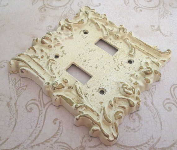 Switch Plate Vintage 1960s Light Cover Decorative Painted White Double Toggle Switchplate Switched To