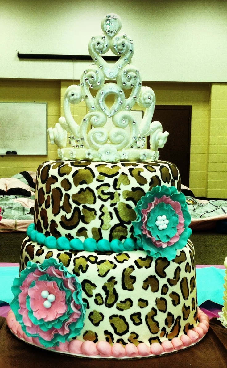 Leopard print birthday cake! Added the flowers after delivery:)