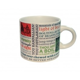 "William Shakespeare brilliantly crafted witty insults. The Shakespeare Insults mug is covered with the funniest and most biting insults from his plays, like: ""Thou art a boil, a plague sore"" and ""Bolting-hutch of beastliness."" There are 30 Shakespearian insults in all printed on this dishwasher-safe mug. Measures 3.5"" x 3.5.""  $12"