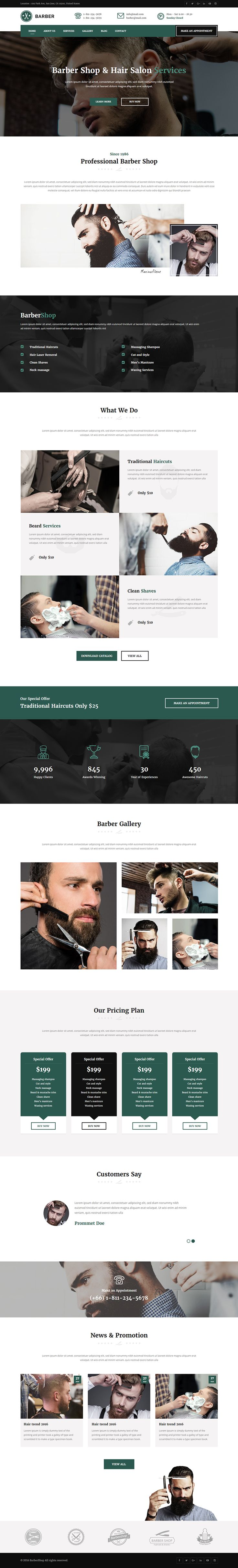 This theme can be used for barber shop, hair salon, tattoo design, haircut, hair design and fashion. This theme is perfect for any other categories as well. The template is based on modern and clean layout