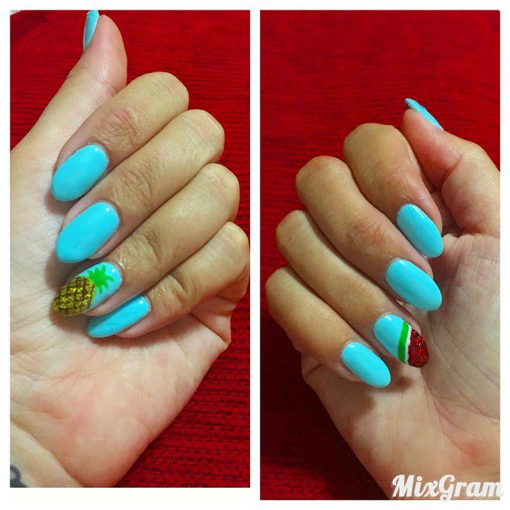 Nails art azul piña sandia