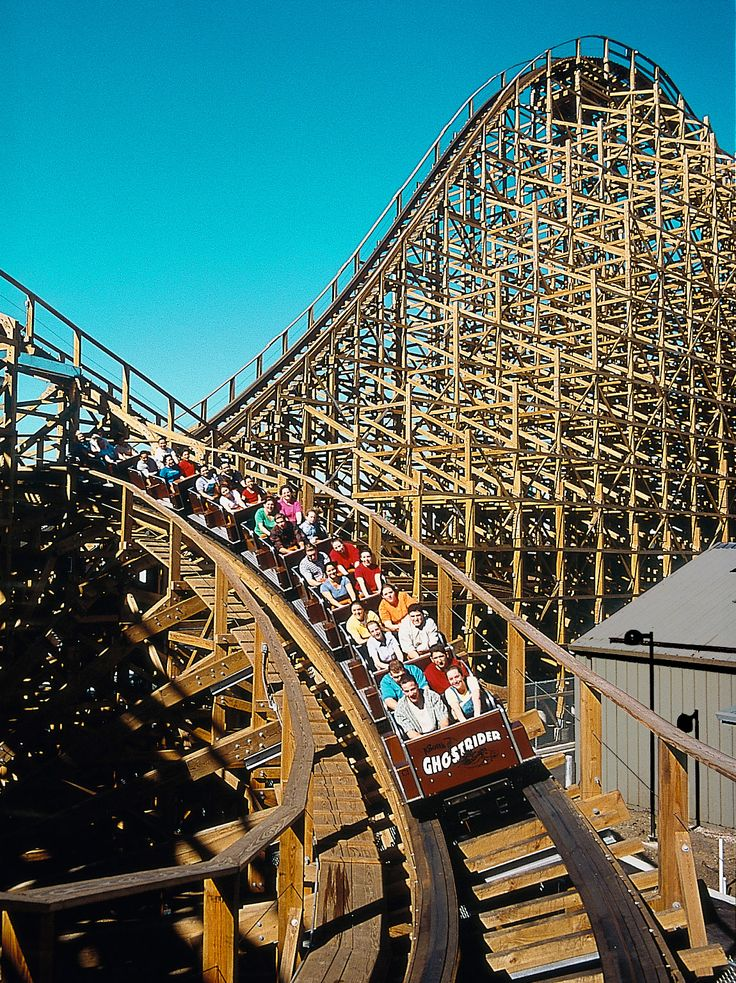 Looming 118 feet over historic Ghost Town, GhostRider is the single-largest attraction in Knotts Berry Farm's history and one of the longest and tallest wooden roller coasters in the world. Brave riders enter a mysterious mine, only to be strapped into gold, silver and copper mining cars and sent along 4,533 feet of twisting, unforgiving timber. Highlights of this massive themed white-knuckler include a dramatic, 108-foot initial banked drop, 13 additional drops, sudden dips, banked turns…