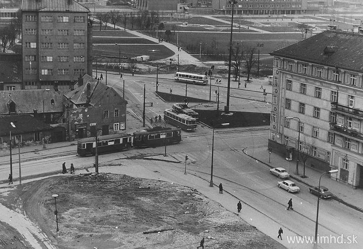 "Before demolition of cemetery, view from Legionárska street / Honvédgasse, Honvéd utca (Klement Šilinger ""rondocubist"" house built by a cooperative during the midwar czechoslovak republic)"