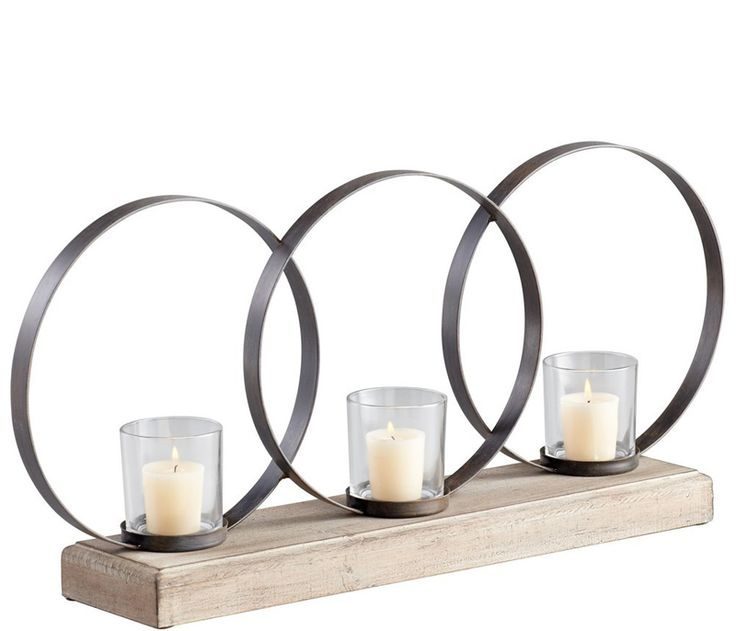 Circle Votive Candleholder - Three circle votive candleholder constructed of raw iron and natural wood. #dreamlivingroom
