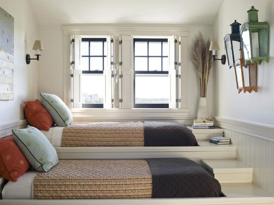 """Very interesting """"step"""" beds; alternative to bunk room at beach house. Bedroom Decorating Ideas: Window Treatments - Traditional Home®"""