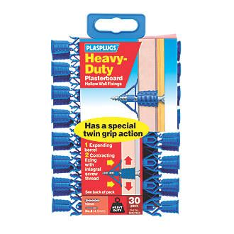 Plasplugs Heavy Duty Plasterboard Fixings Blue Pack of 30. Heavy Duty fixings for use in hollow walls. Includes drill and screw gauge. http://www.MightGet.com/april-2017-1/plasplugs-heavy-duty-plasterboard-fixings-blue.asp